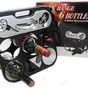 Сгъваема поставка за вино за 6 бр. бутилки вино и аксесоари