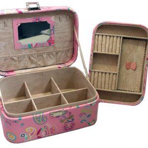 Практична кутия бижутерка на две нива от изкуствена кожа с огледало