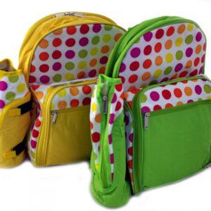 Комплект прибори за пикник за 4ма в жълта или зелена раница