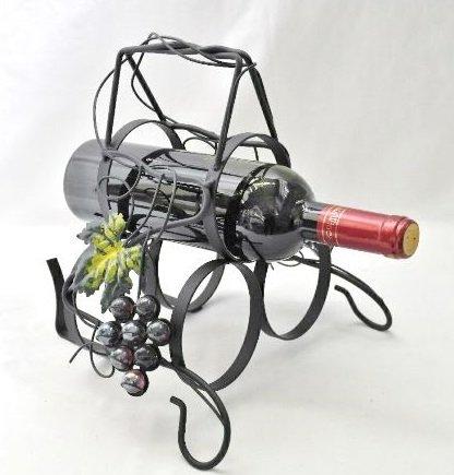 метална поставка за вино с място за 3 бр. бутилки