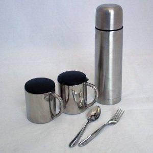 Луксозен термос с вместимост 500мл в к-т с 2 чаши по 200мл, виличка, лъжичка и малка хавлийка