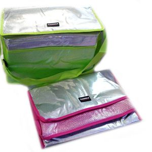 Хладилна чанта за излет в червен и зелен цвят