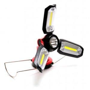 акумулаторна лампа с 3 подвижни бели LED светлини и опция за зареждане на телефони